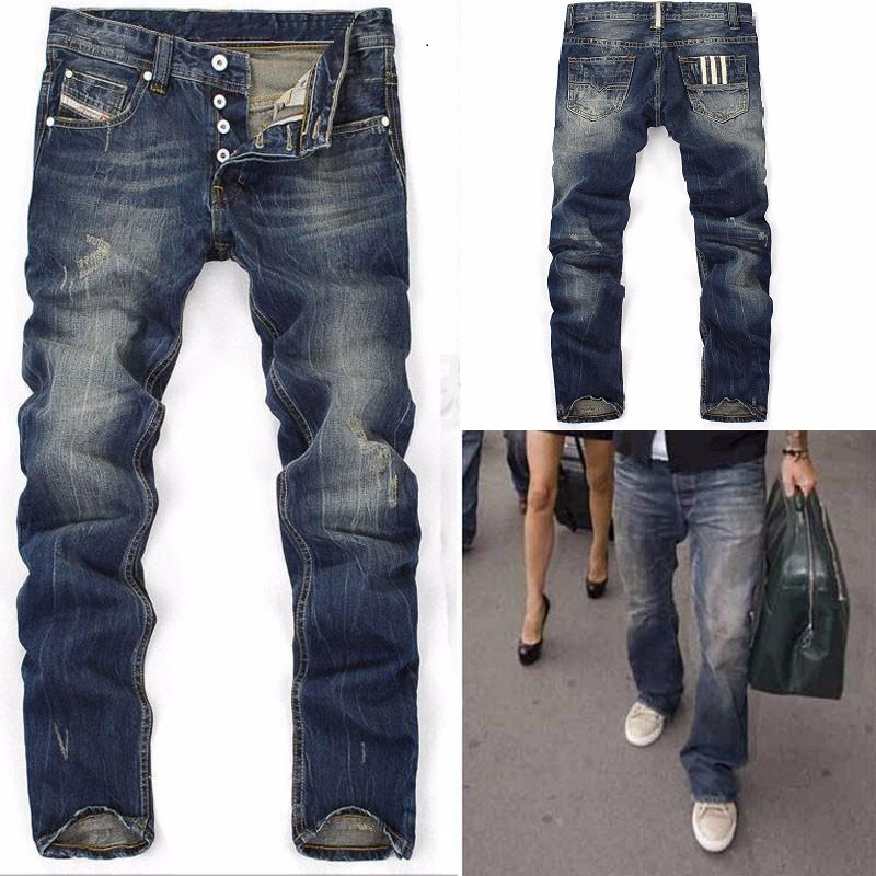Men's   Jeans   Straight New ripped   Jeans   Blue Denim with Hole Male Button Straight Men's Scratched Trousers