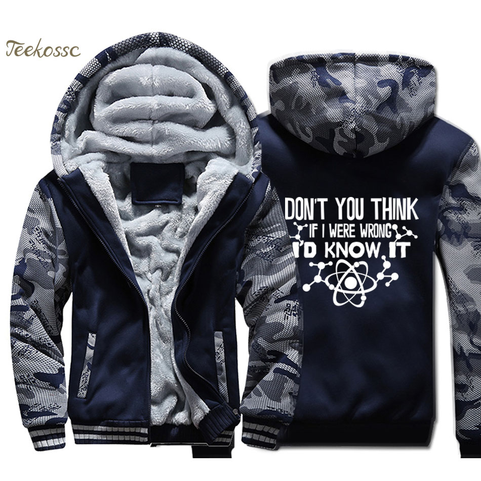 Don't You Think If I Were Wrong I'd Know It Jacket Men Funny Science Sweatshirt Coat Winter Thick Fleece Zip up Galaxy Hoodie