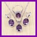 Clásico 925 de Plata Esterlina Joyería Conjunto Simple Oval Amethyst Púrpura AAA Circón Cristal de Las Mujeres Joyas Caja de Regalo Libre