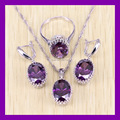 Classic 925 Sterling Silver Purple Amethyst Jewelry Set Simple Oval AAA Zircon Women Crystal Jewelry Free Gift Box