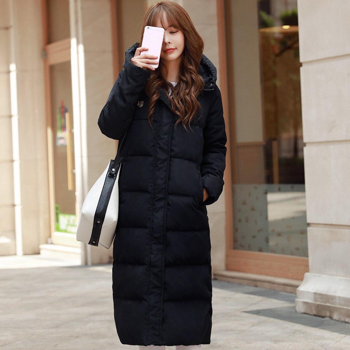 Womans Winter Warm Windcheater Hooded Cheap Long B font b Jacket b font Thick Maxi Coat