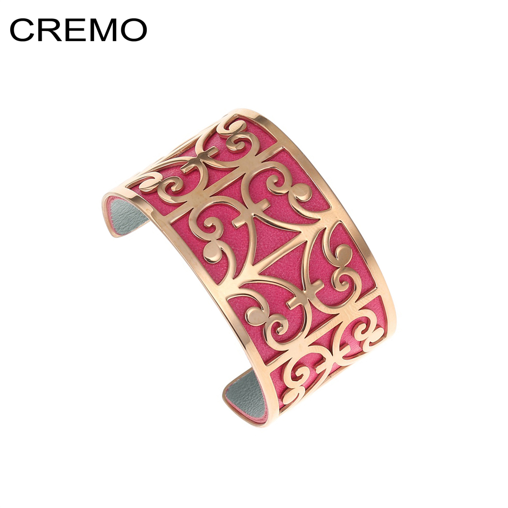Cremo Aries Rose Gold Bracelets Bangles Stainless Steel Bracelets Manchette Femme Jewelry Cuff Interchangeable Leather Bangle