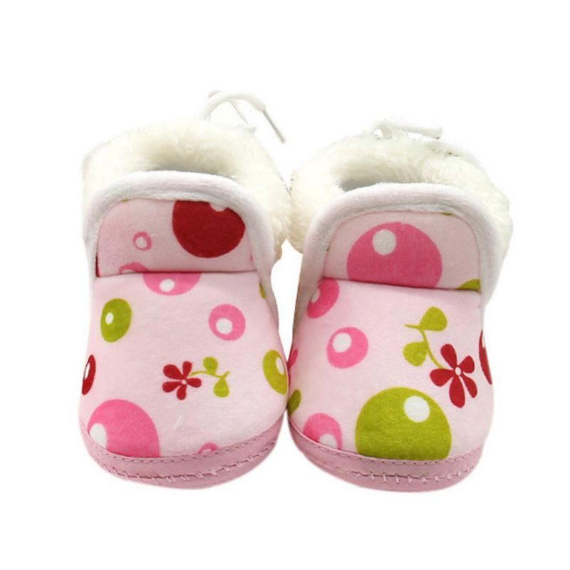 Newborn Baby Cotton Shoes Plus Velvet Boy Flower Printed Girl Baby Shoes Toddler Shoes 0-1 Years Old Children Warm Shoes