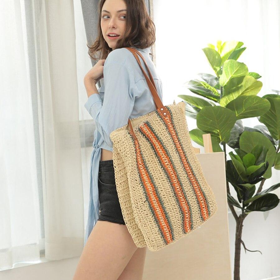 Модные повседневные женские соломенные сумки из ротанга дизайнерские полосы женские сумки на плечо Тканые сумки большой емкости летние пляжные сумки