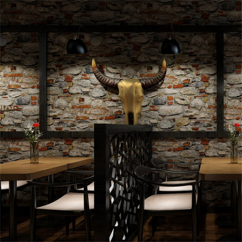 beibehang 3D Stereo Stone Striped Marble Wallpaper Hotel Restaurant Bakery Hot Pot Restaurant Waterproof Wallpaper PVC New