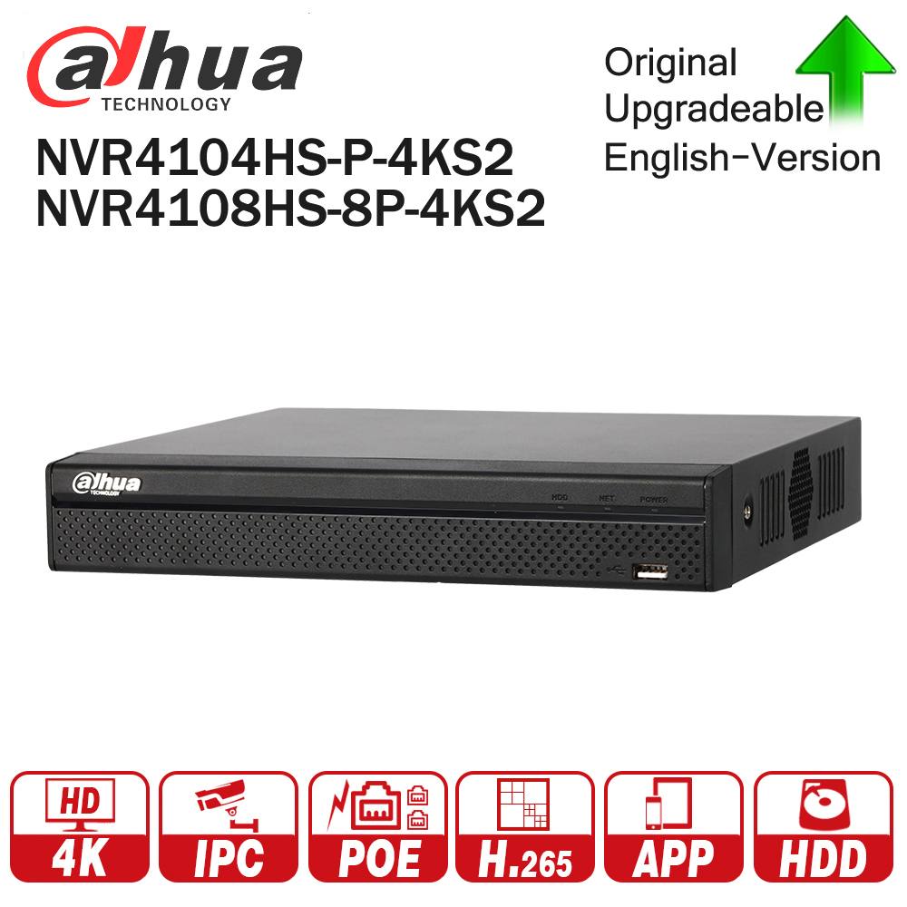 Dahua NVR NVR4104HS-P-4KS2 NVR4108HS-8P-4KS2 with 4/8ch PoE Port H.265 Video Recorder Support ONVIF CGI Metal POE NVR dahua network video recoder nvr4208 8p hds2 nvr4216 16p hds2 8 16ch nvr support onvif poe nvr recorder for poe camera
