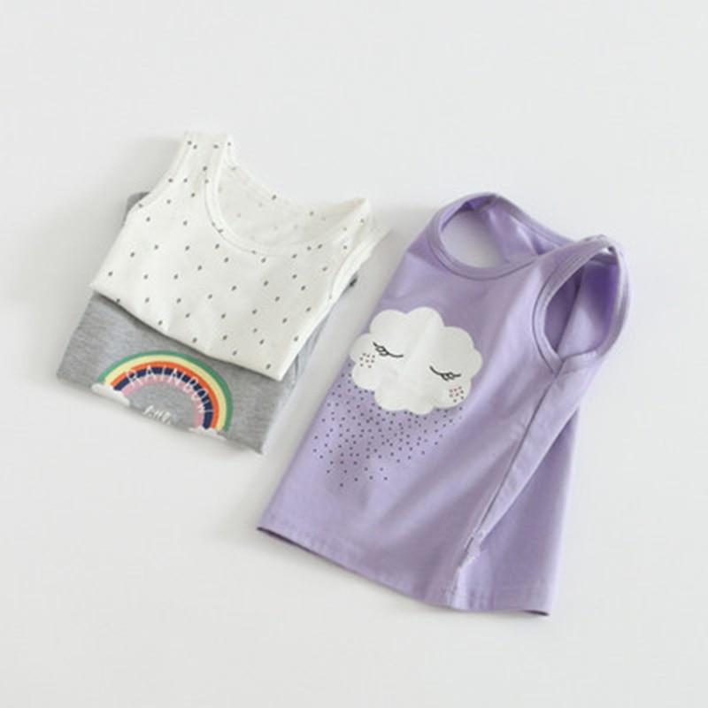 VIDMID Baby Girls tanks tops girls cotton Camisoles vests girls new kids underwear Tanks summer rainbow tops t-shirts  7068 01