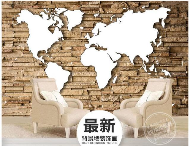 Customized 3d Photo Wallpaper 3d Wall Murals Wallpaper Retro White World Map  Background Wall Painting For