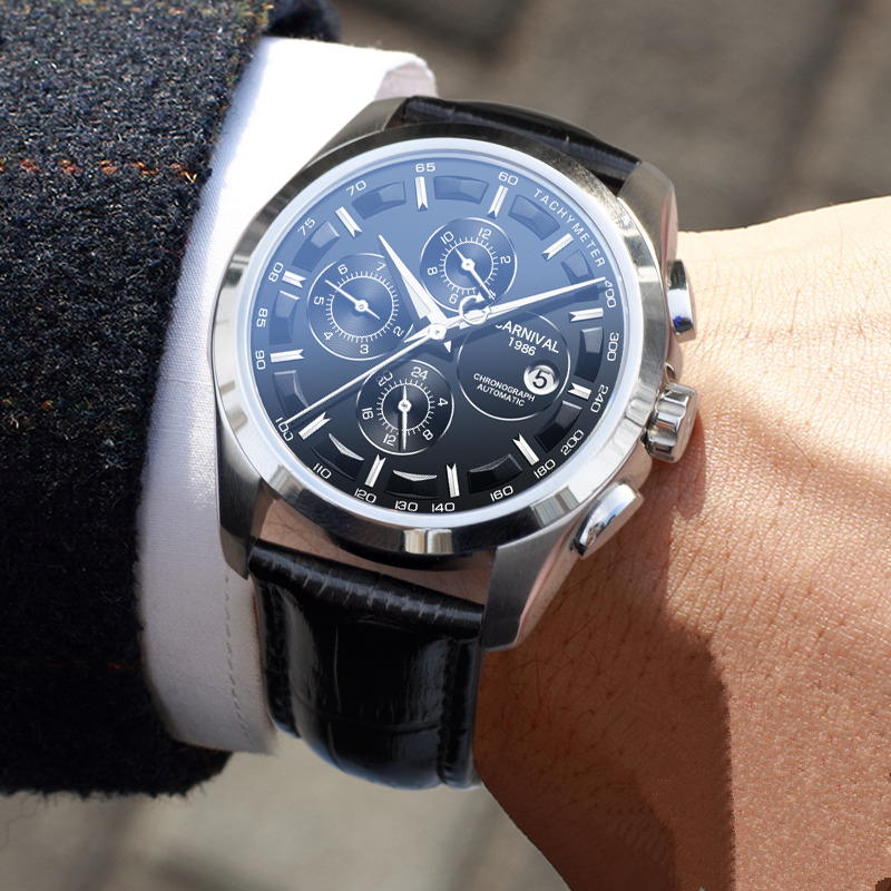 Модные механические часы для мужчин, роскошный бренд, карнавал, многофункциональные автоматические часы для мужчин, самовзводные, календарь, кожаный ремешок, светящийся - 2