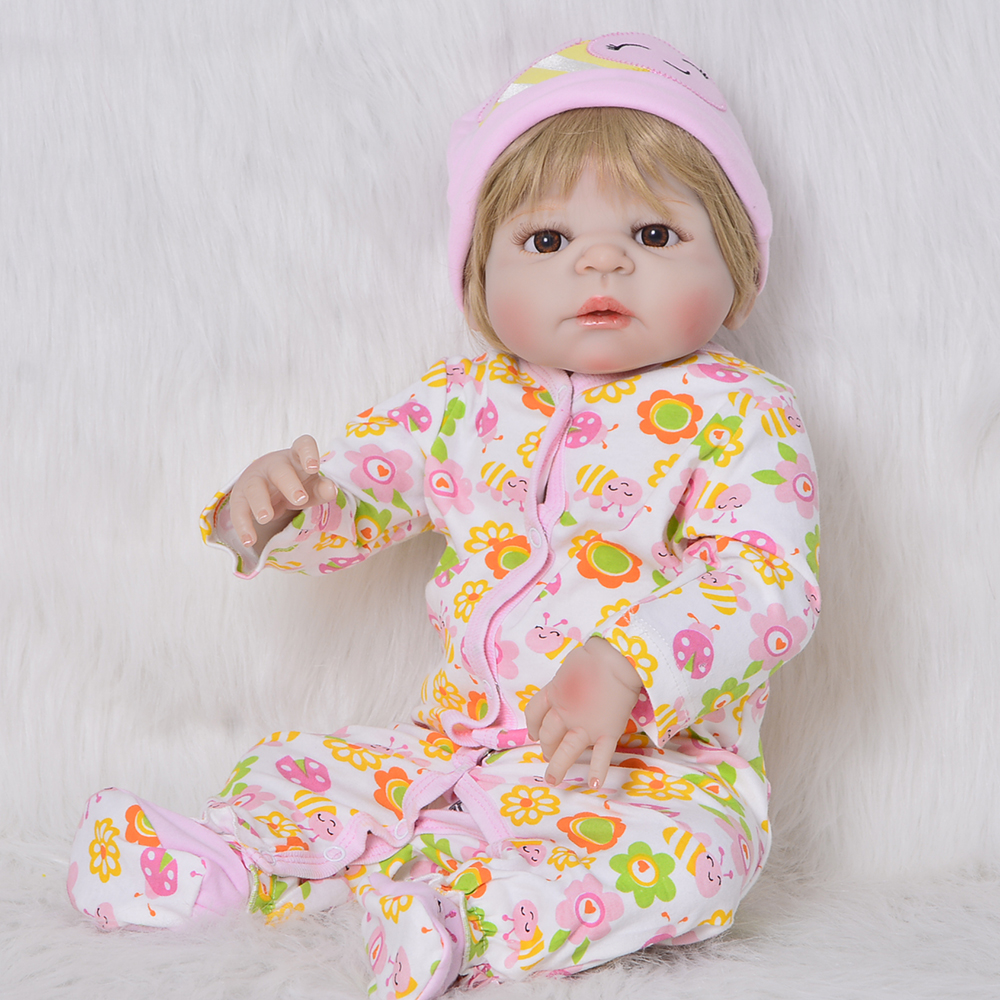 2018 Realistic Reborn Baby Doll 23 Silicone Vinyl Girl Babies Blonde Wig Newborn Doll Gift Toys Birthday New Year Presents