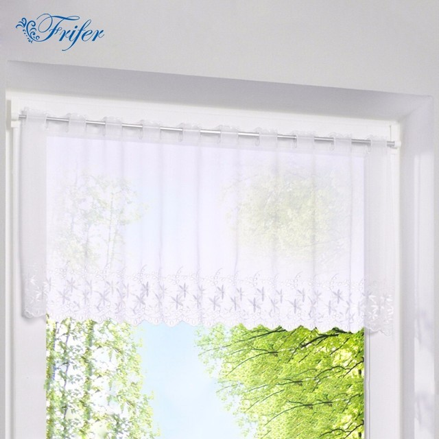 Terence White Blind Curtain Embroidered Curtain Small Coffee Door Window  Tulled Curtains Venetian Roman Roller Blinds