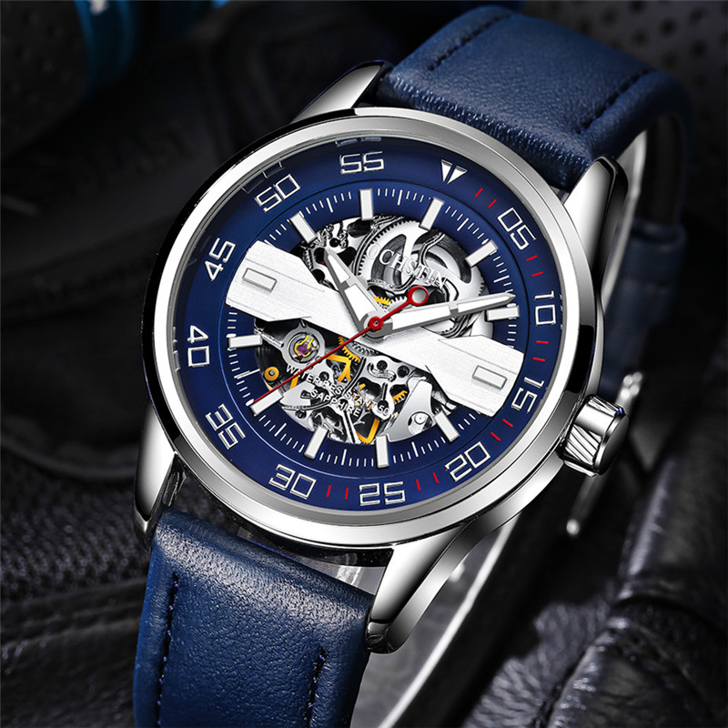 Men's Watch Brand OCHSTIN Self-wind Automatic Mechanical Watches Male Genuine Leather Business Clock Relojes Relogio Masculino tevise mens watches brand watch skeleton automatic self wind business mechanical steampunk wristwatch relogio masculino xmas
