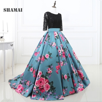 SHAMAI In Stock Size Prom Dresses Cheap 2019 Prom Print Flowers Ball Gowns Three Quarter Sleeve Lace Top Prom Dress