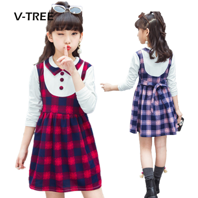 V Tree Girls Clothing Plaid Teenage Girl Dress Fashion -4729