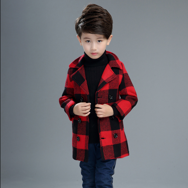 European Style Children's clothing outerwear autumn and winter wool thickening plaid boy coat warm trench kids coat jacket
