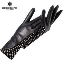 Genuine Leather gloves Punk style gloves female Fashion leather gloves warm gloves winter Popular style gloves women rivet desig cheap WINTER PALACE SILK Adult Gloves Mittens Wrist 14052-3 Imports of sheep Splice Preformance black