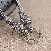 V.YA Thai Silver Long Chain Necklace for Women 925 Sterling Silver Marcasite Stone Pendant Necklaces 1.5mm 60cm 70cm 75cm 80cm