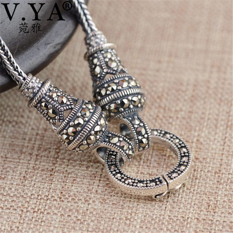 V.YA Thai Silver Long Chain Necklace for