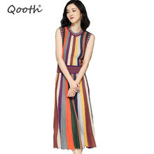 5b18b456530 Qooth Summer Fashion Women Clothes Knitwear Rainbow Striped Sweater Dress  O-neck Sleeveless Mid-calf A-line Long Dresses QH1738