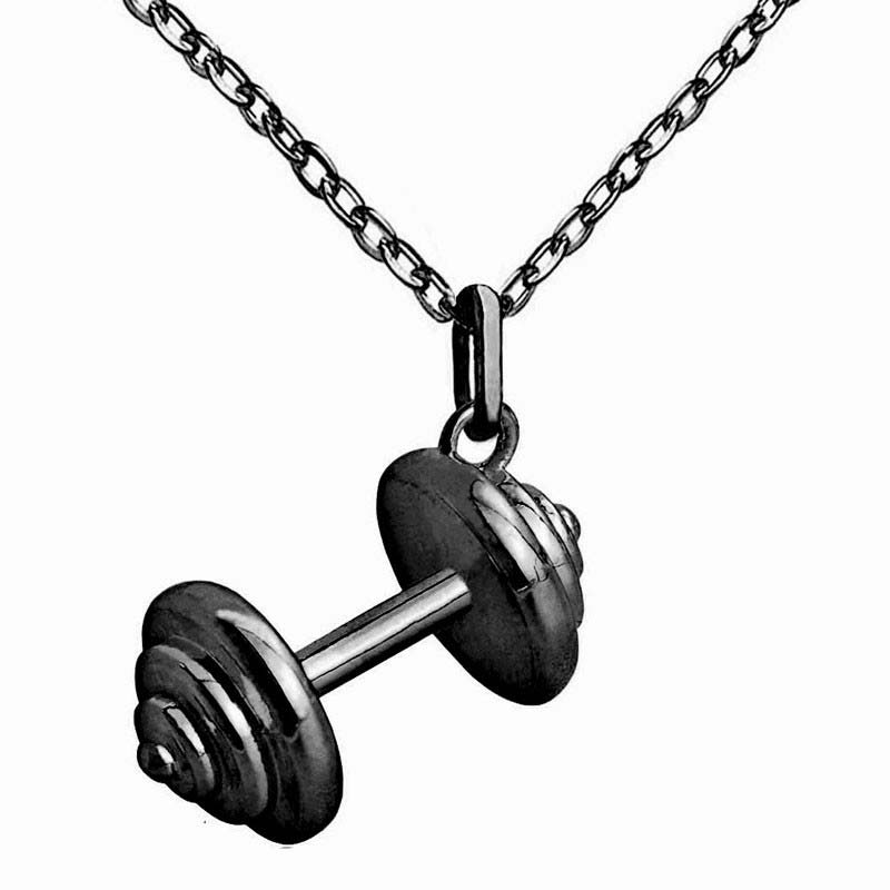 Barbell Pendant Necklaces for Women Punk Jewelry Copper Made Fashion Cloth Accessories Gun Black Plated 10pcs New Arrivals