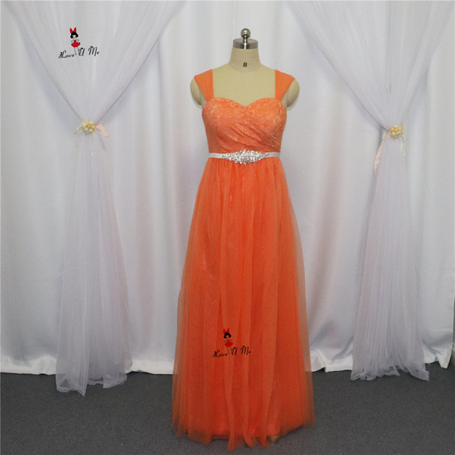 Vestidos Madrinha De Casamento Long Elegant Bridesmaid Dresses 2017 Orange Lace Wedding Guest Wear Party Prom