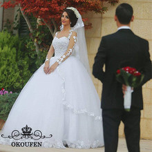 OKOUFEN White Puffy A Line Wedding Dress For Long Sleeves