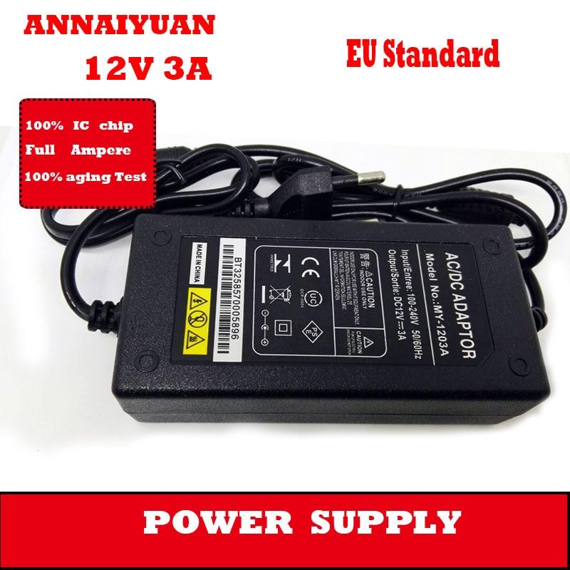 5 pcs /lot EU 12 V 3 A black AC 100-240 V 235 g switching power 36 W 5.5*2.5 mm interface monitor power adapter supply