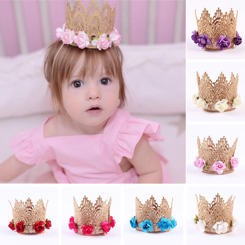 Toddler Baby Kids Girl Cute Lace Flowers Gold Crown Headband Hair Band Clothing Accessory   Headwear   Princess Party Head Wear