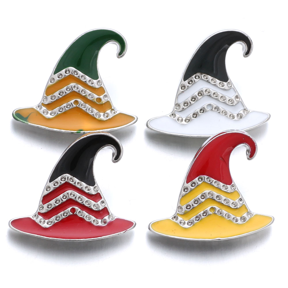 10pcs/lot Snap Jewelry Christmas Hat Snap Buttons Fit 18mm Snap Bracelets Women Alloy Button DIY Jewelry