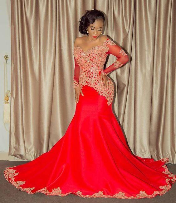 2017 Elegant African American Black Girl Wedding Dress: 2017 Elegant African American Black Girls' Red Evening