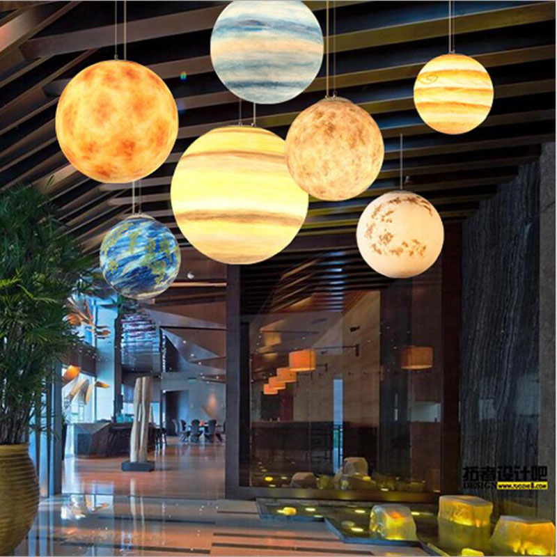 L European bedroom chandelier living room dining room lamps simple moon children's room moon creative personality single head