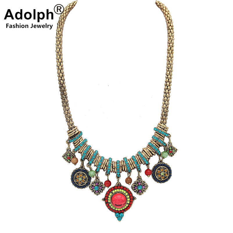 ADOLPH Star Jewelry Bohemian Beads Crystal Choker Necklace Vintage Ethnic Statement Necklaces & pendants New Hot SALE