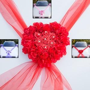 Kit de decoraciones para coche de boda con corazón de flores 2019, cinta con flores artificiales de seda, lazos, suministros para bodas al por mayor DIY