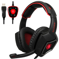 Sades Spirit Wolf Gaming Headphones Computer USB 7.1 Surround Sound Headset with Mic Noise Isolating LED Light for PC Gamer