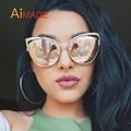 Aimade Vintage Women Cat Eye Sunglasses Fashion Female Hollow Shades Superstar Retro Big Cateye Mirror Sun Glasses Ladies UV400