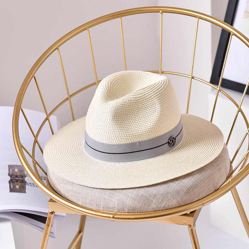 979a1af18644d ... Ymsaid Summer casual sun hats for women fashion letter M jazz straw for man  beach sun ...