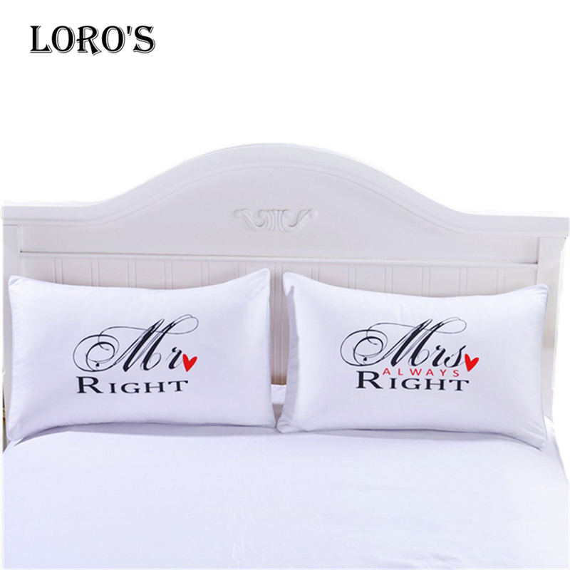 Simple RIGHT Alphabet <font><b>Pillow</b></font> <font><b>Case</b></font> White Couple Lovers Gift <font><b>Pillow</b></font> Throw Pillowcases Home Beddroom Two Pair <font><b>Pillows</b></font> Bedding Set image