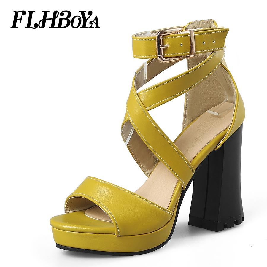 Woman Gladiator High Block Heels Platform Sandals comfortable Buckle Cross Strap Square Heel Women Open Toe Summer Party Shoes women high heel sandals cross strap hollow gladiator shoes women trifle heels sansals high platform woman footwear size 34 39