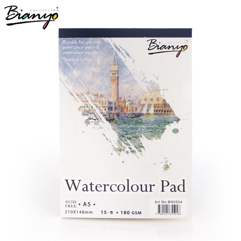 Bianyo A4/A5 Sketchbook для художника Акварельные краски, 15 лист акварельной бумаге Блокнот Книга для Chilren искусство рисования художественные принадлежности