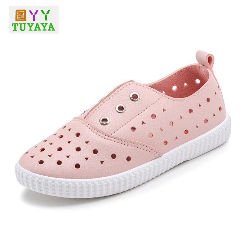 Kids Brand Shoes 2018 Spring Cut Out Flat Girls Sneakers Soft Leather Kids Shoes Boys Children Trainers Kids School Shoes