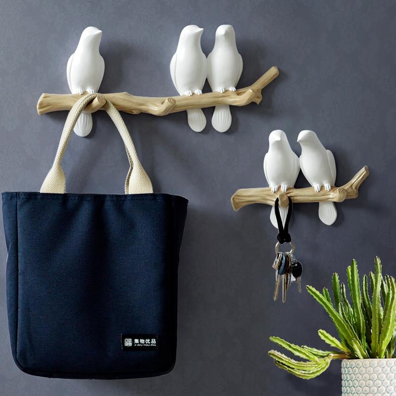 Wall Decorations Home Accessories Living Room Hanger Resin Bird hanger key kitchen Coat Clothes Towel Hooks Hat Handbag Holder