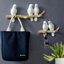 Decoración de pared para el hogar, accesorios para el hogar, colgador de pájaro de resina, colgador de llaves, abrigo para cocina, ganchos para toallas, sombrero, soporte para bolso