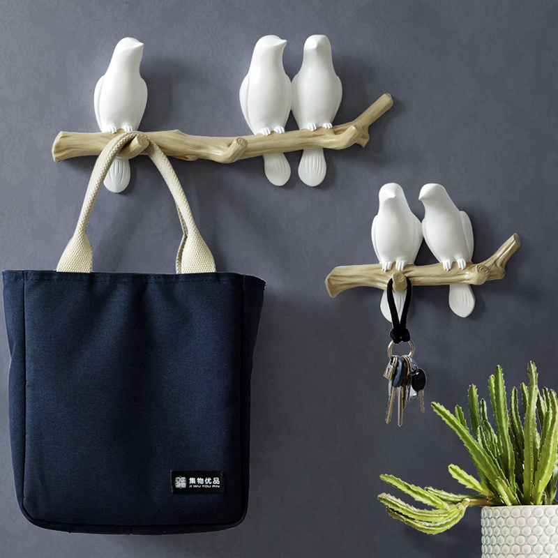 Wall Decorations Home Accessories Living Room Hanger Resin Bird hanger key kitchen Coat Clothes Towel Hooks Hat Handbag Holder(China)