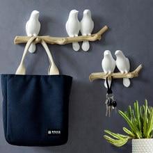 Decorações de parede acessórios para casa sala estar cabide resina pássaro cabide chave cozinha casaco toalha ganchos chapéu bolsa titular