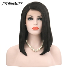 JOY&BEAUTY 14 Inch Synthetic Lace Front Wig For Women Natural Black Straight Hair Short Bob Wig Heat Resistant Fake Hair Wigs все цены