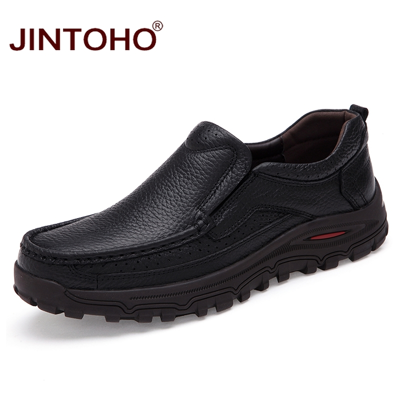 JINTOHO Big Size Real Leather Men Flats Shoes Slip On Genuine Leather Loafers Formal Dress Shoes