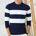 2016 New Autumn Winter Mens Long Sleeve T-Shirt O Neck Striped T Shirt for Men