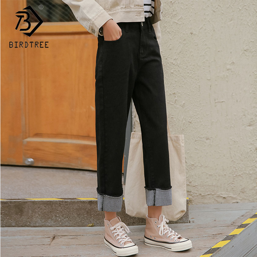 Jeans 2019 Womens Patchwork Jeans Denim Pants Plaid Black High Waist Buttons Ankle Length Wide Leg Pants Casual Hot Sales B91335j Bottoms