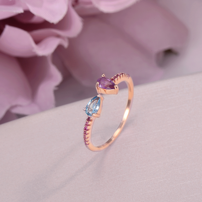 Natural Gemstone Rings For Women 925 Silver Simple Amethyst Topaz Water Drop Classic Adjustable Rose Gold Plated Ringen CCRI043