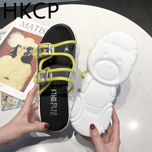 HKCP Fashion women 2019 new bear thick-soled transparent sandals with retro Hong Kong style beach shoes C158